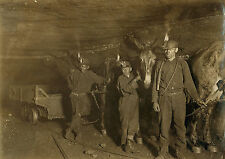"1908 Photo, MINING, Mines, Mules, Young Boys Labor, 16""x11"", Lewis Hine,VIRGINIA"