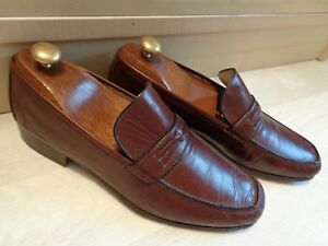 A-Testoni-brown-moccasin-UK-8-42-mens-black-trim-handmade-loafer-Made-in-Italy