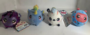 5-034-SQUEEZAMALS-With-Tags-Lot-Of-4-Stuffed-Animals-Plush-New