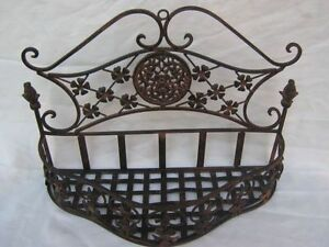 wandkorb wandregal blumenkorb deko bad k che verziert eisen shabby antik braun ebay. Black Bedroom Furniture Sets. Home Design Ideas