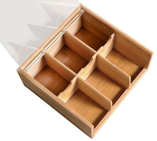 Kesper Teebox 22x21x9,5 cm avec 6 il classification en bambou 58903