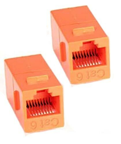 2x Cat6 RJ45 Ethernet Coupler Joiner Snap-In Jack F//F Keystone Wall Plate Orange