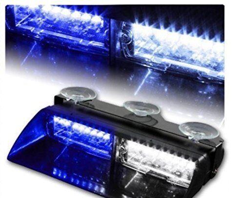Blue Blue 16 LED Windshield Emergency Flash Strobe Light For Interior Dash 18W