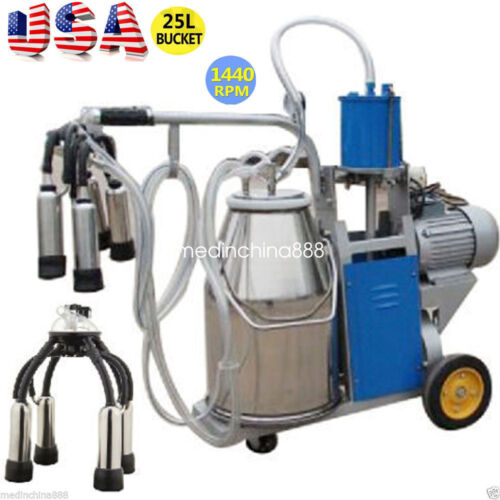 Portable Electric Milking Machine Milker Cows Stainless Steel 25L W// Bucket