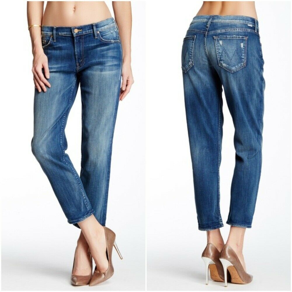 MOTHER Size 31 The Dropout Cropped Straight Leg Jeans Tequila Truth