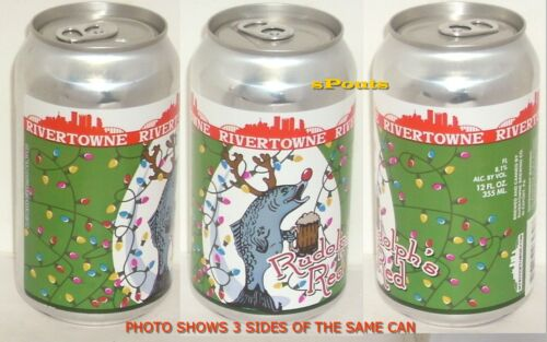 2015 CHRISTMAS RUDOLPH RED NOSE FISH-DEER MICRO BREW BEER CAN PITTSBURGH SKYLINE