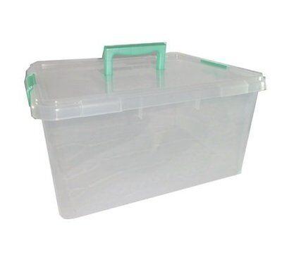 15ltr 15 Litre Clip Handle Plastic Storage Multi Use Box Container Trendy 812