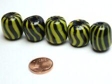 5 X Schwarz gelb twisted lampwork Perlen