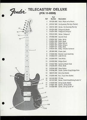 Rare Factory Fender 11-1300 Telecaster Guitar Dealer Sheet With Parts List