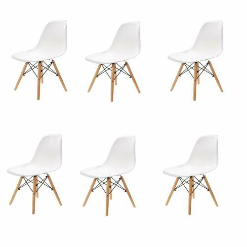 Lot de 6 chaises design tendance rétro bois chaise de salle à manger