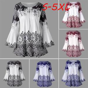 Fashion-Womens-Plus-Size-Printed-Flare-Sleeve-Crew-Neck-Blouses-Keyhole-T-Shirts