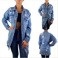 DAMEN JEANSJACKE LANG OVERSIZE HELL BLAU DESTROYED STONE WASH DENIM MANTEL S-XL