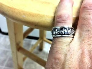Elephant-Oxidized-Sterling-Silver-Spin-Ring-Sizes-7-9-925-Pure-Silver