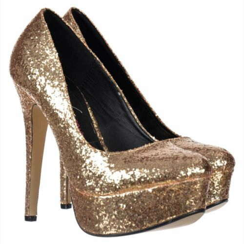 Womens Sparkly Glitter Stiletto Platform Heels Party Shoes Gold Silver Red Size