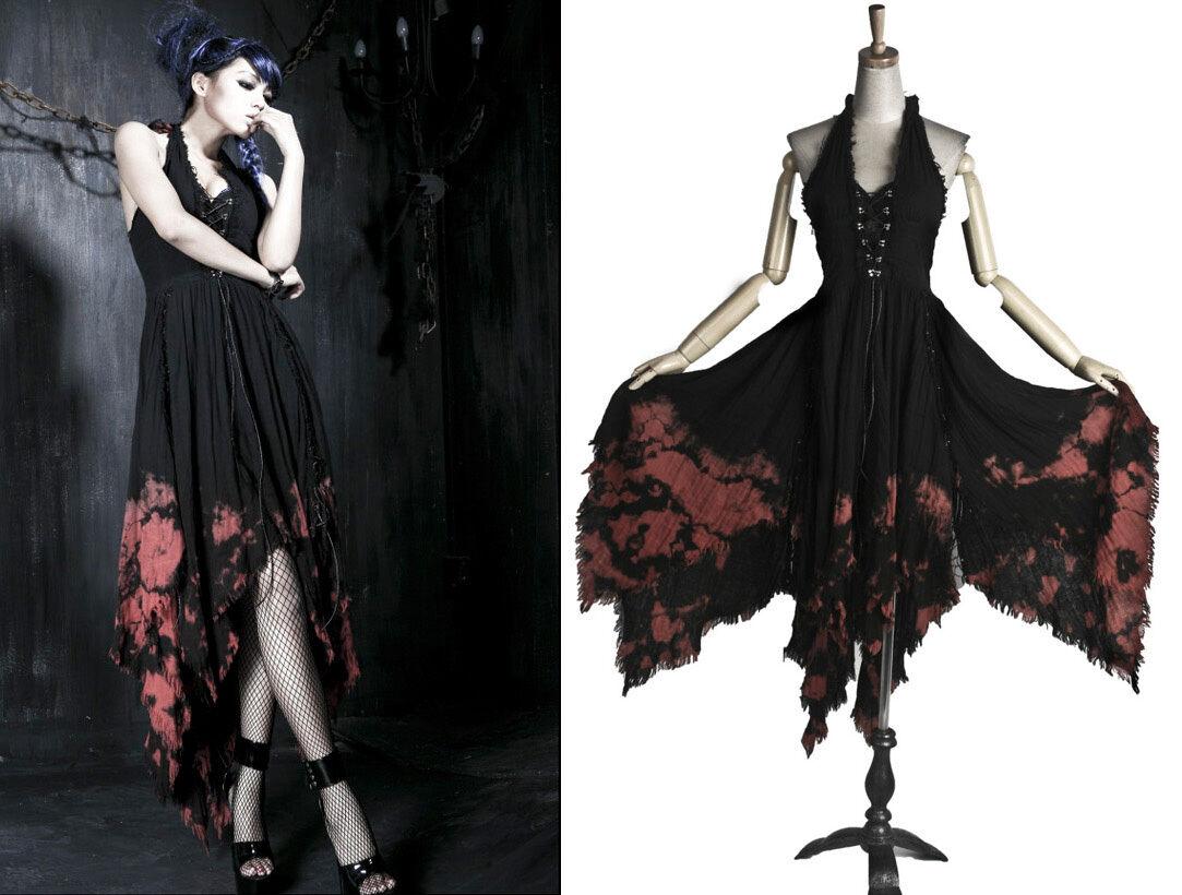 Robe longue gothique lolita fashion gitane asymétrique évasé dos nu Punkrave