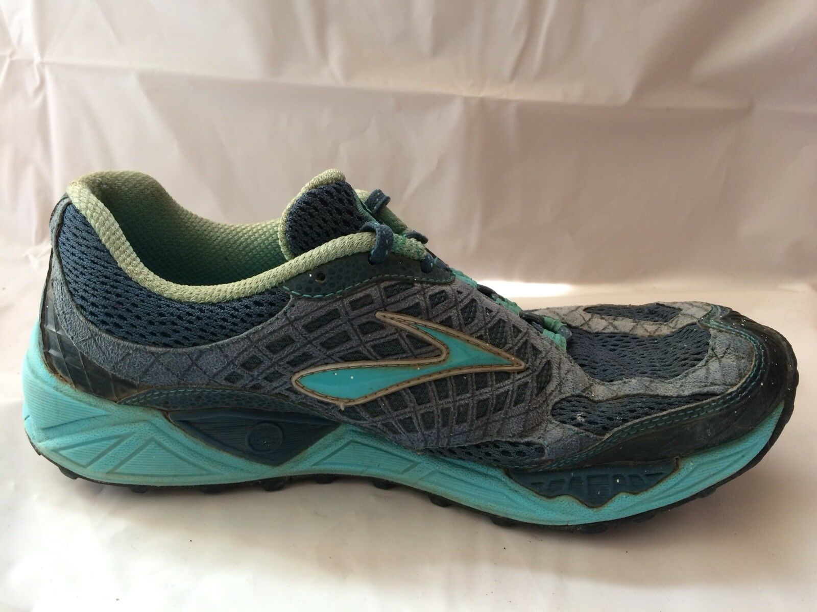 Brooks Cascadia 7 Womens 10 M EUR 42 Navy bluee Teal Green Trail Running Sneakers