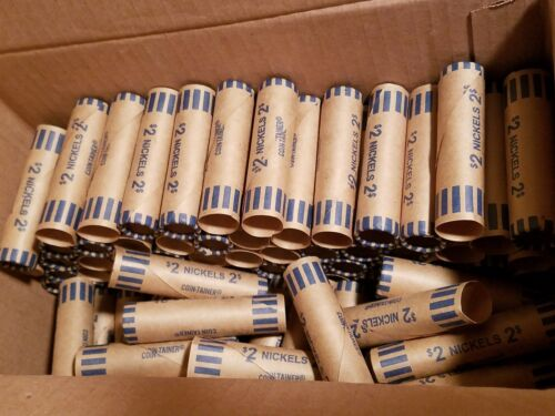 1000 Coin-Tainer Paper Nickel Wrappers Pre-Crimped End Shotgun Rolls Holds $2 ea