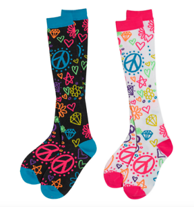 90d795626 Knee High Socks 3C4G Rainbow Doodle Neon Hearts Peace Fits Shoe Size ...