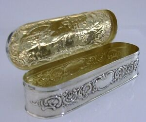 SUPERB-ANTIQUE-STERLING-SILVER-TABLE-BOX-1915-ARTIST-PAINTING-ANTIQUE-88g