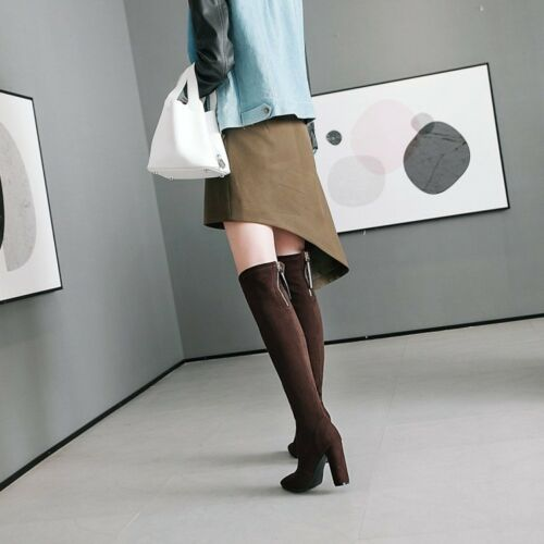 Details about  /Plus Size Women Faux Suede Round Toe Pull On Block Heels Knight Knee High Boots
