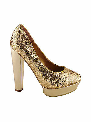 Women Glitter Embellished Court Chunky Block Heel Platforms Shoes