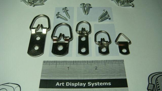 "100 ASSORTMENT D RING PICTURE HANGERS 20 HANGERS EACH 200 #6 1//2/"" SCREW SAMPLES"