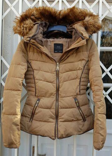 con cappuccio in Coat pelliccia Gorgeous Puffa Style Zara 10 Camel 8 Taglia S Anorak Jacket stile RRCvzq