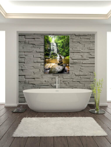 Zen Stones before Waterfall Canvas Picture Wall Deco Art Print