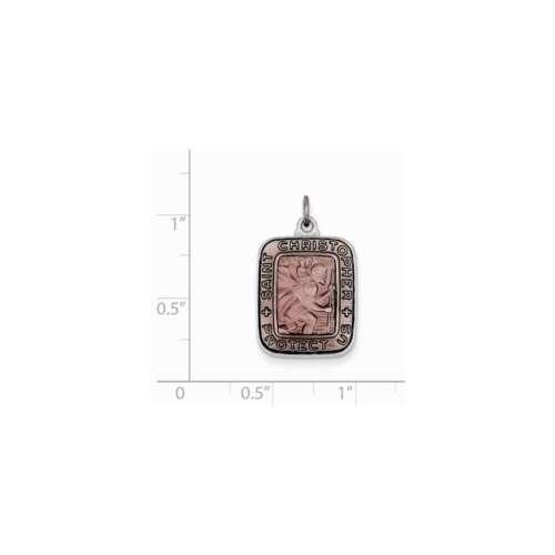 Sterling Silver Pink Enamel Square St Christopher Medal Pendant