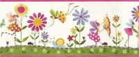 Wallpaper Border Fairies Flowers Lady Bugs Butterflies Pink Lavender Green Red