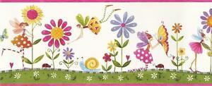 Wallpaper-Border-Fairies-Flowers-Lady-Bugs-Butterflies-Pink-Lavender-Green-Red