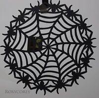 Halloween Newbridge 2 - 15 In Black Creepy Crawly Spider Web Glitter Placemat