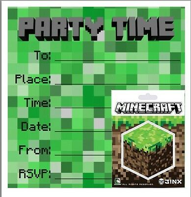 Party /Birthday Invites with Official Minecraft Sticker!