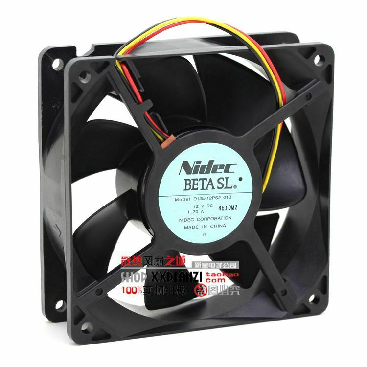 NIDEC D12E-12PS2 01B 12V 1.70A 120*120*38 3 wire 3pin cooling fan