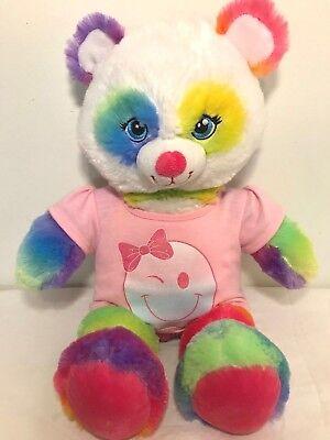 "Build a Bear Rainbow Pop of Color Panda 17/"" stuffed animal Plush"