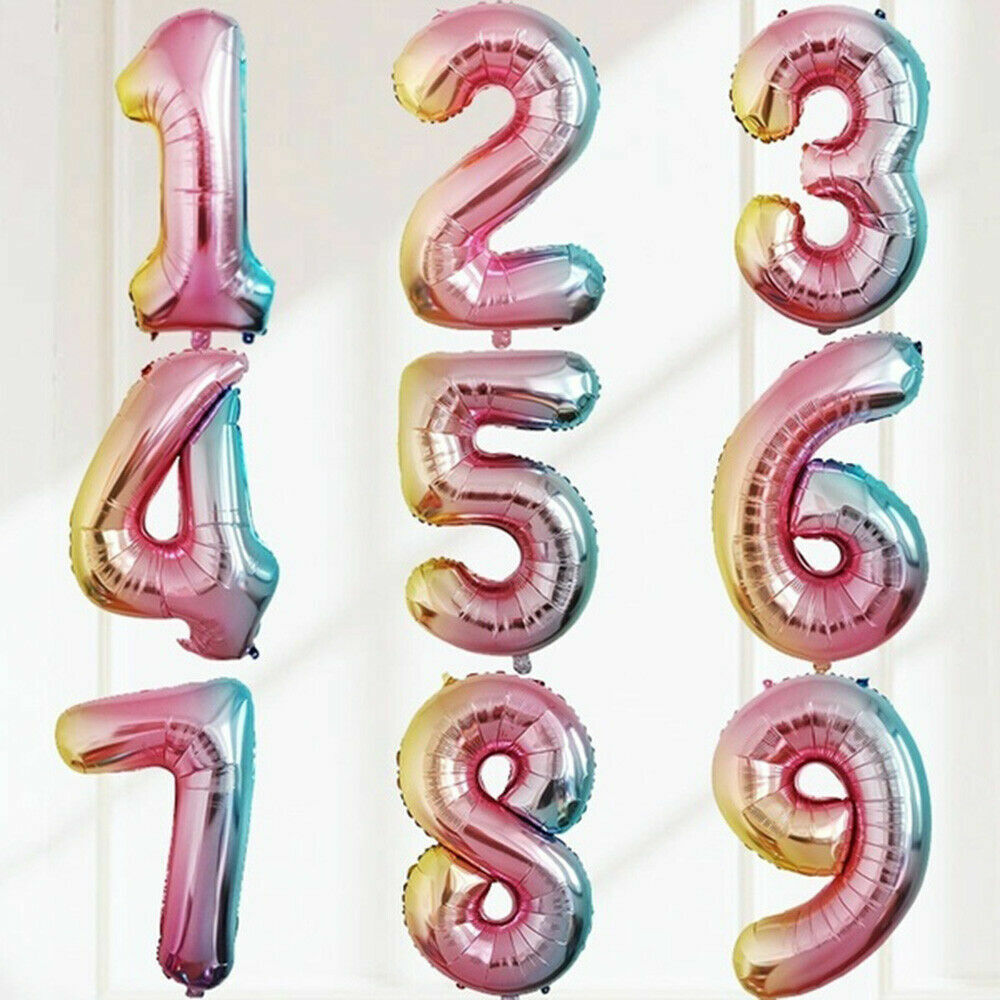 """32/"""" 40/"""" NEW Gradient Color Number Foil Letter Balloon Birthday Party WeddingAge"""