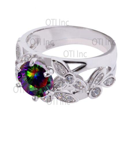 Brilliant Rainbow Topaz CZ Wedding Plumeria Nature Ivy Leaf Silver Ring Set