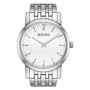 Bulova-Men-039-s-Quartz-Silver-Tone-Dial-Bracelet-38mm-Watch-96A115