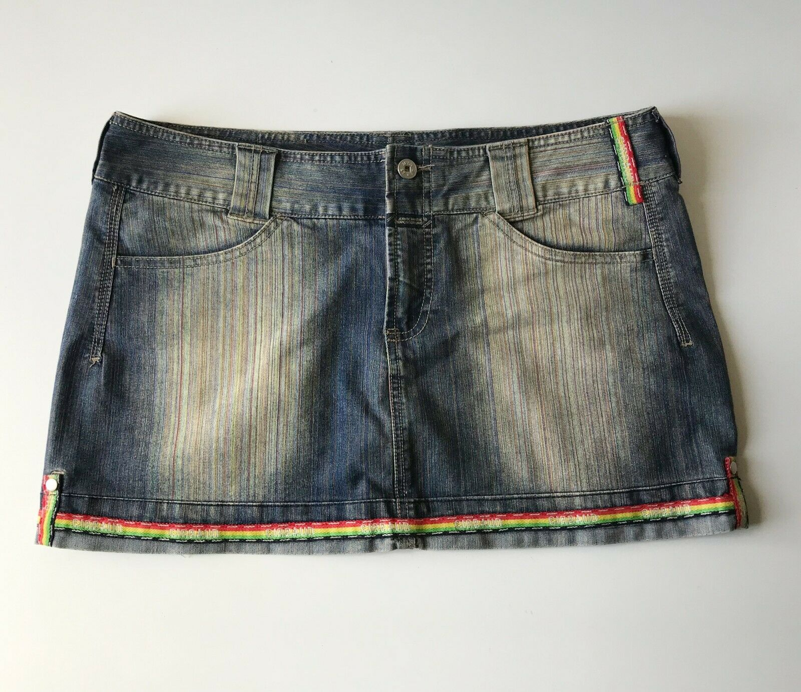 Jupe denim MARITHE FRANCOIS GIRBAUD jeans neon tendance 42-44