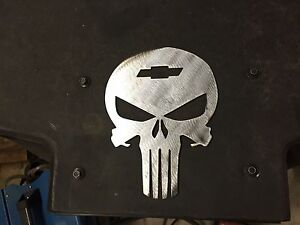 Skull Man Cave Decor : Plasma cut chevy punisher skull man cave garage art wall decor ebay