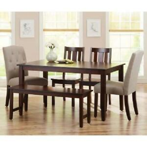 Details About Solid Wood Dining Table Rectangular 6 Person Classic Dining  Room Kitchen Brown