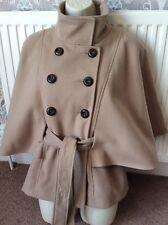 ladies 8 jacket Coat Brown camel Cape Short belted F&F
