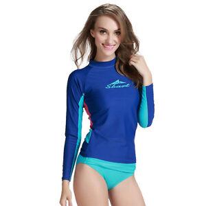 de35103a29 Image is loading Women-Scuba-Swimming-Shirt-UV-Protection-Long-Sleeve-