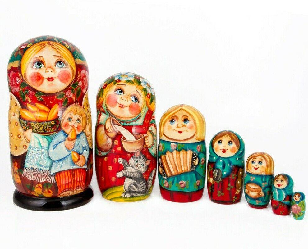 Russe traditionnelle doll poupee russe matriochka en bois empilable doll 8  7 Pcs