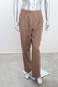 Brioni Mens Light Brown Mocha Wool Pleated Front Straight Pant Slack