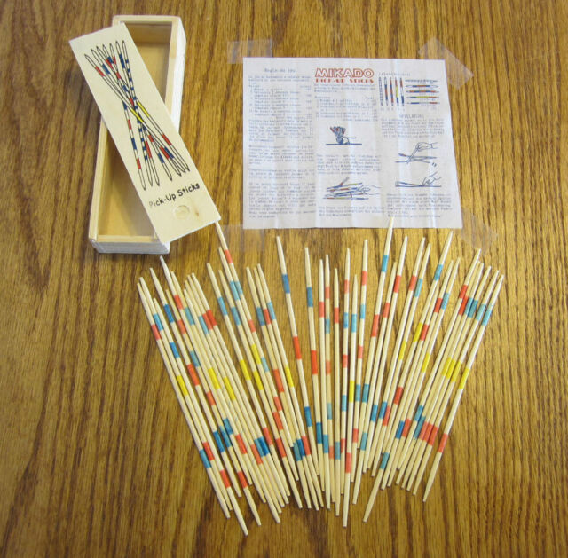 8 SETS OF NEW WOOD PICK UP STICKS WITH WOODEN BOX PICK-UP MIKADO SPIEL GAME
