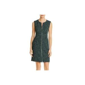 BOSS-Hugo-Boss-Womens-Darsha-Tweed-Check-Print-Sleeveless-Sheath-Dress-BHFO-9306