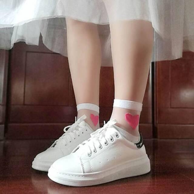 Transparent Love Fashion Crystal Lace Women Girls Short Socks Heart Pattern Cute