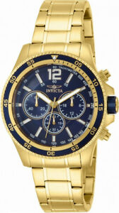 Invicta-Specialty-13978-Men-039-s-Round-Blue-Analog-Chronograph-Gold-Tone-Watch