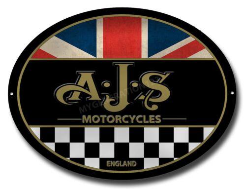 AJS MOTORCYCLES OVAL MACHINE CUT METAL SIGN.MAN CAVE/GARAGE/WORKSHOP SIGN
